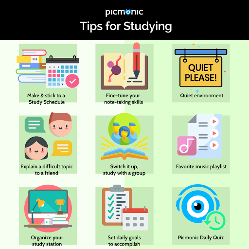 Picmonic tips for studying